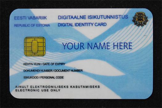 ショールームで配布されたe-Residencyカードのサンプル